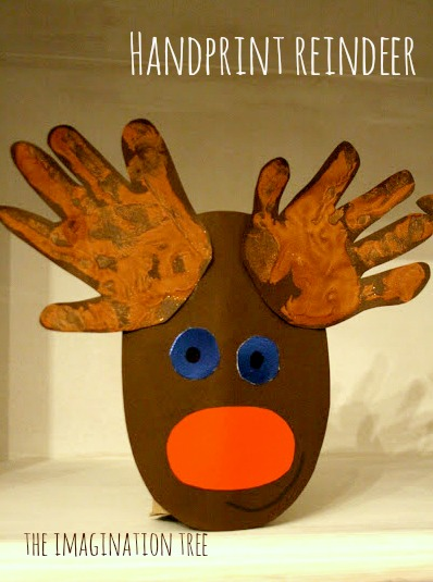 Handprint Cardboard Roll Rudolph Craft