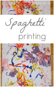 Toddler art printing with spaghetti