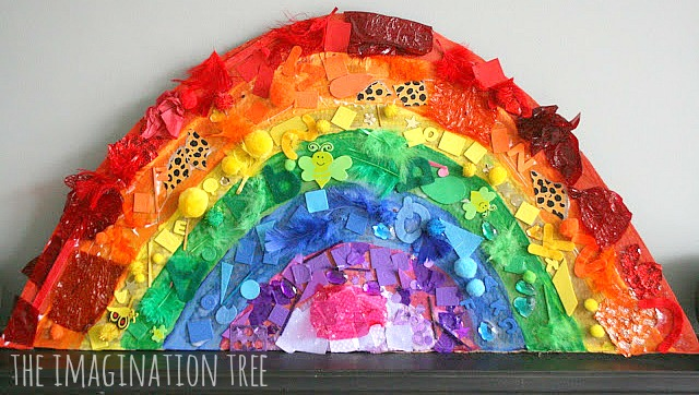 Classroom Birthday Ideas Non Food ~ Giant rainbow collage the imagination tree