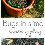 Bugs in slimy spaghetti sensory play- great for Halloween!