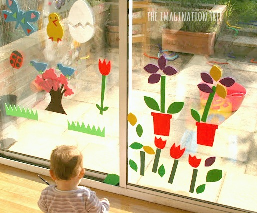 Spring foam art on the window