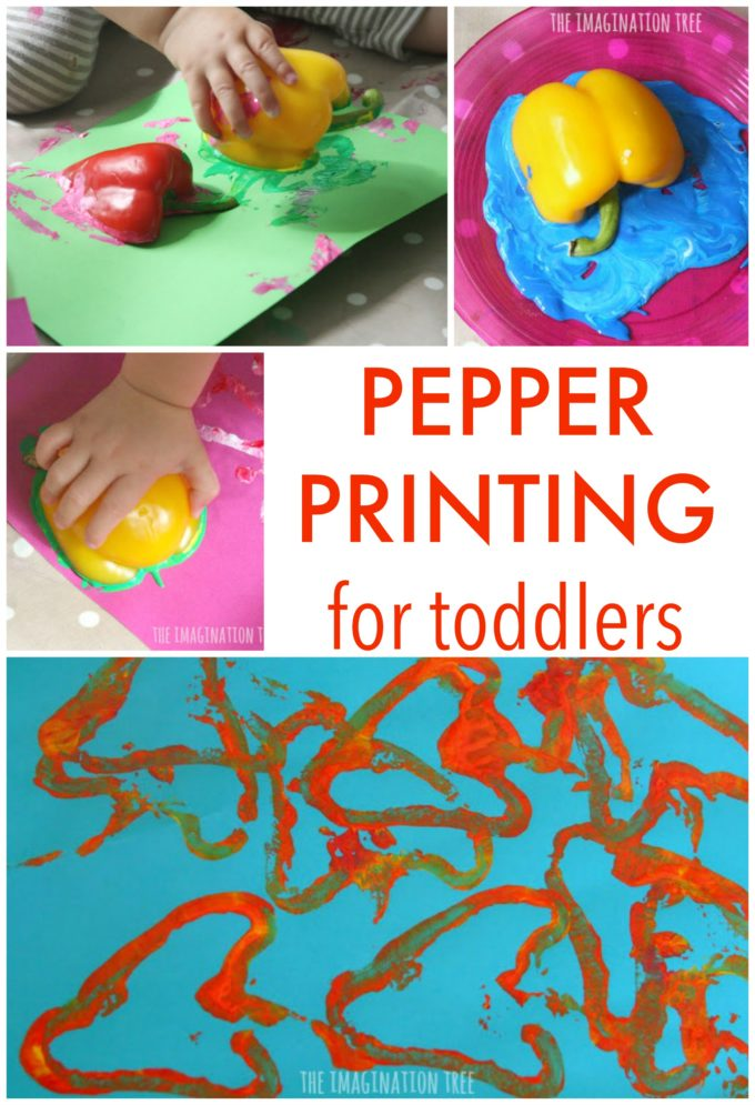 Pepper printing art activity for toddlers and preschoolers
