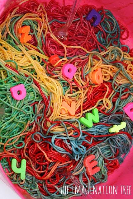 Rainbow alphabet spaghetti sensory play