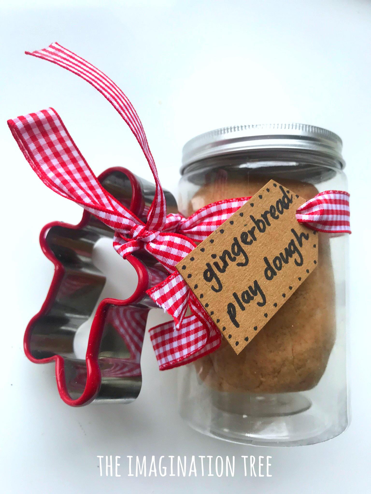 Make a DIY gingerbread play dough recipe gift!