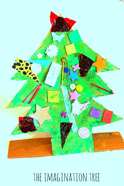 Recycled materials christmas tree