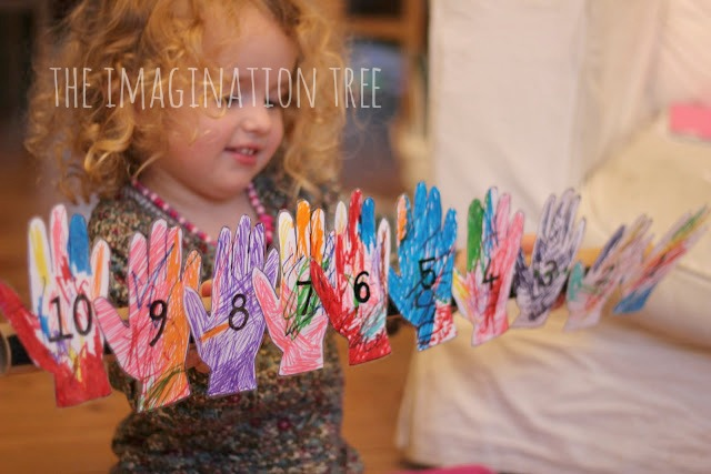 Handprint numberline counting activity