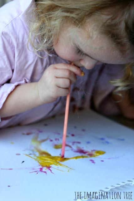 Straw blown art for kids