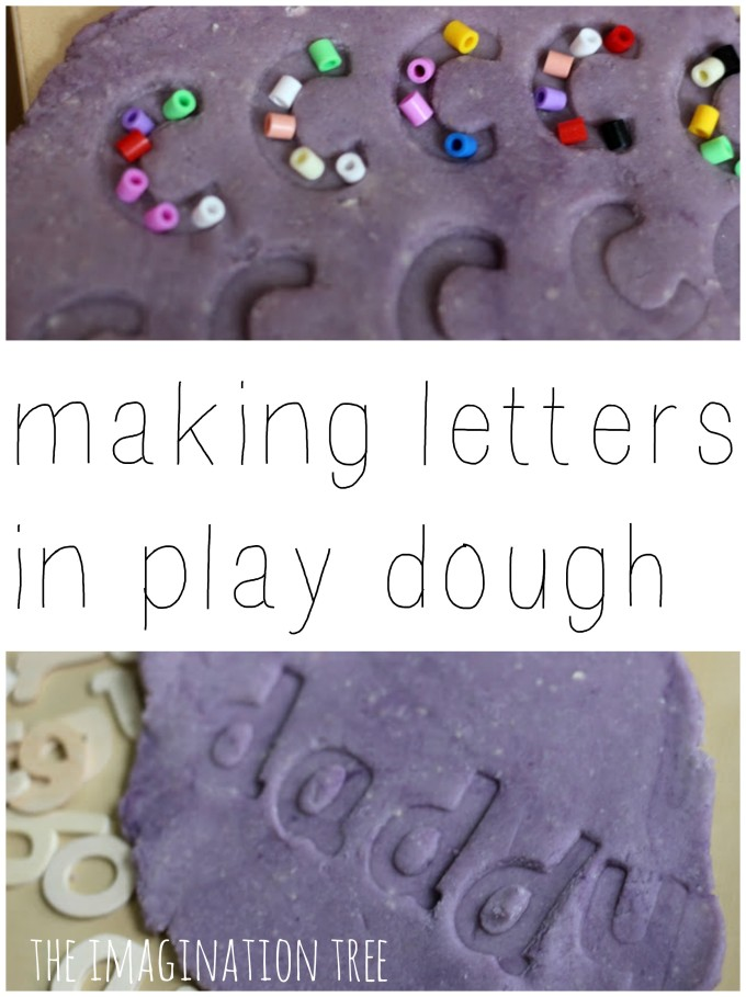 Playful literacy learning with play dough, wooden letters and beads