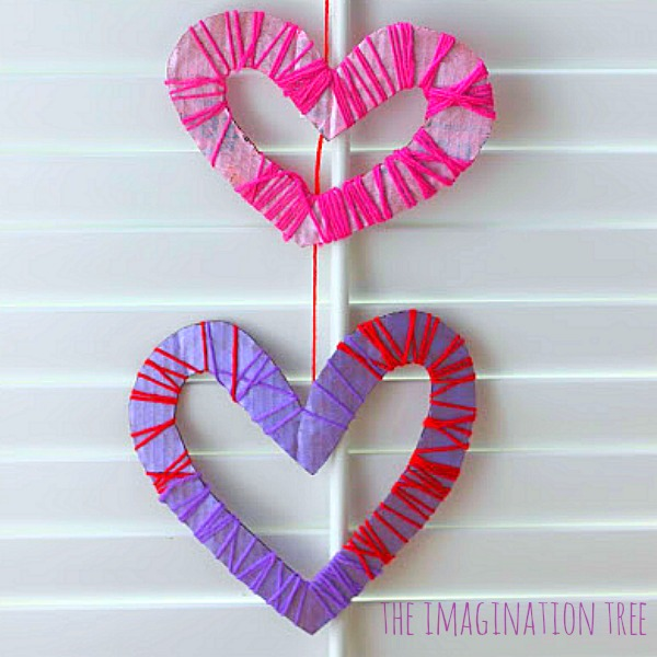 Yarn wrapped heart mobile craft
