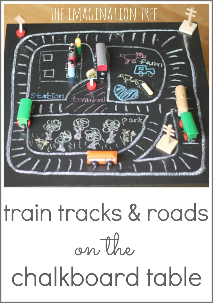 Imaginative play on a chalkboard table top