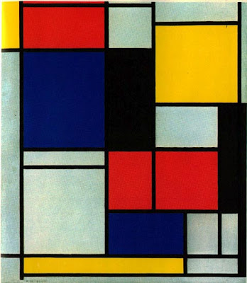 Mondrian composition in red blue and yellow