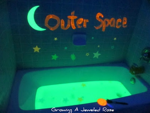 Glowing activities for kids the imagination tree for Space themed bathroom