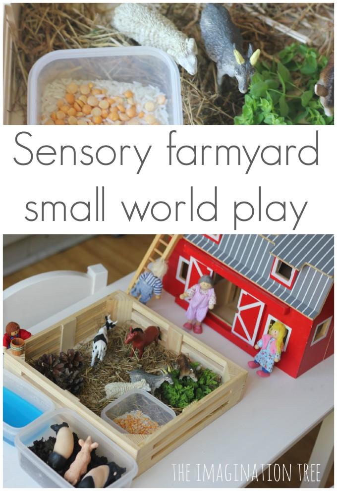 Farmyard sensory small world play scene