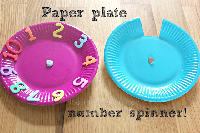 math number spinner paper plate counting