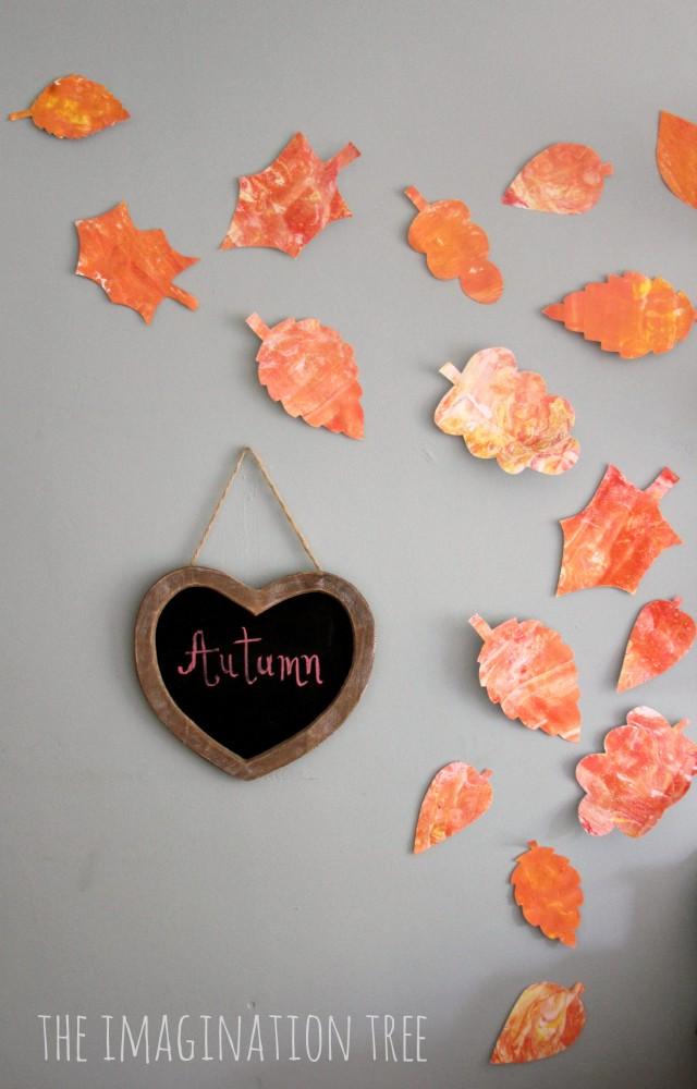 Shaving cream marbling autumn leaves