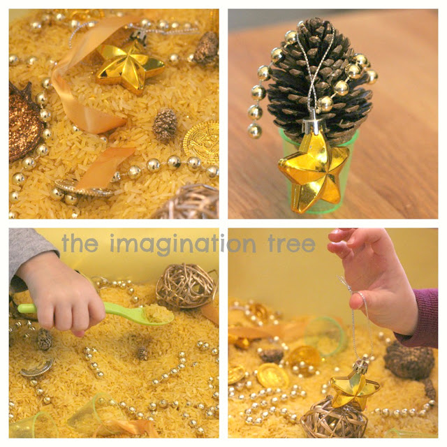 christmas cinnamon rice sensory tub https://theimaginationtree.com