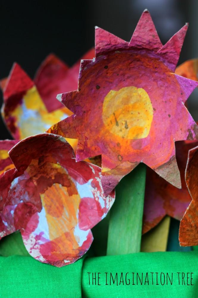 Gorgeous cardboard flowers craft