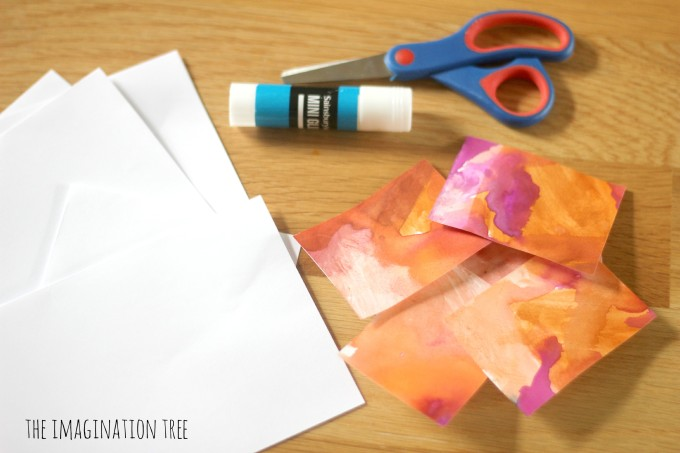 Material checklist for making watercolour thank you cards