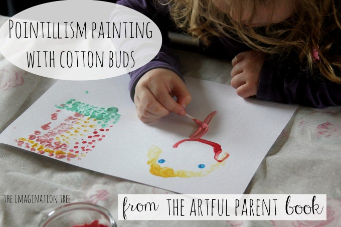 Pointillism painting with cotton buds from The Artful Parent