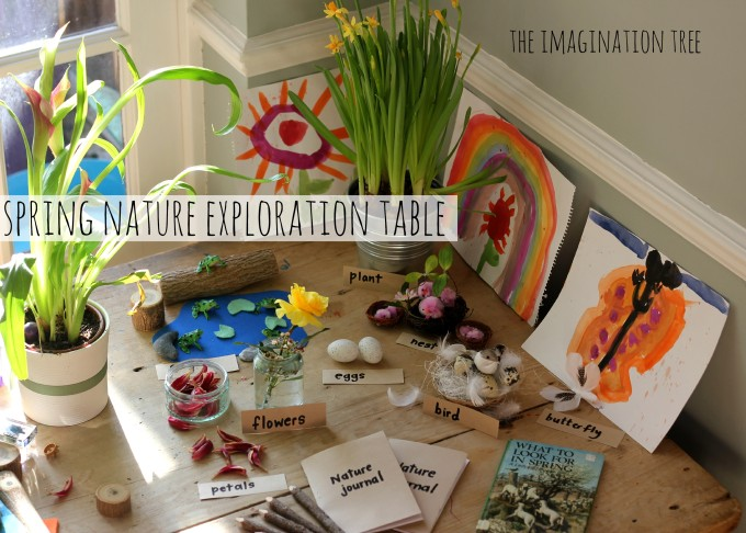 Spring nature exploration table for kids