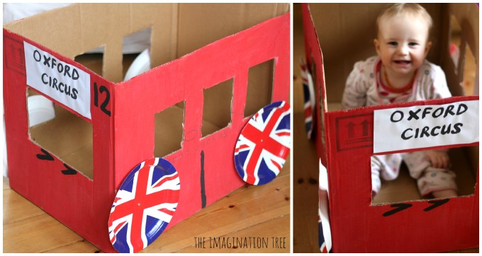 london bus cardboard box
