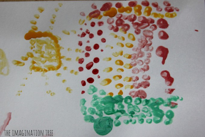 Pointillist painting with q tips for kids
