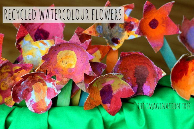 Recycled watercolour flower craft