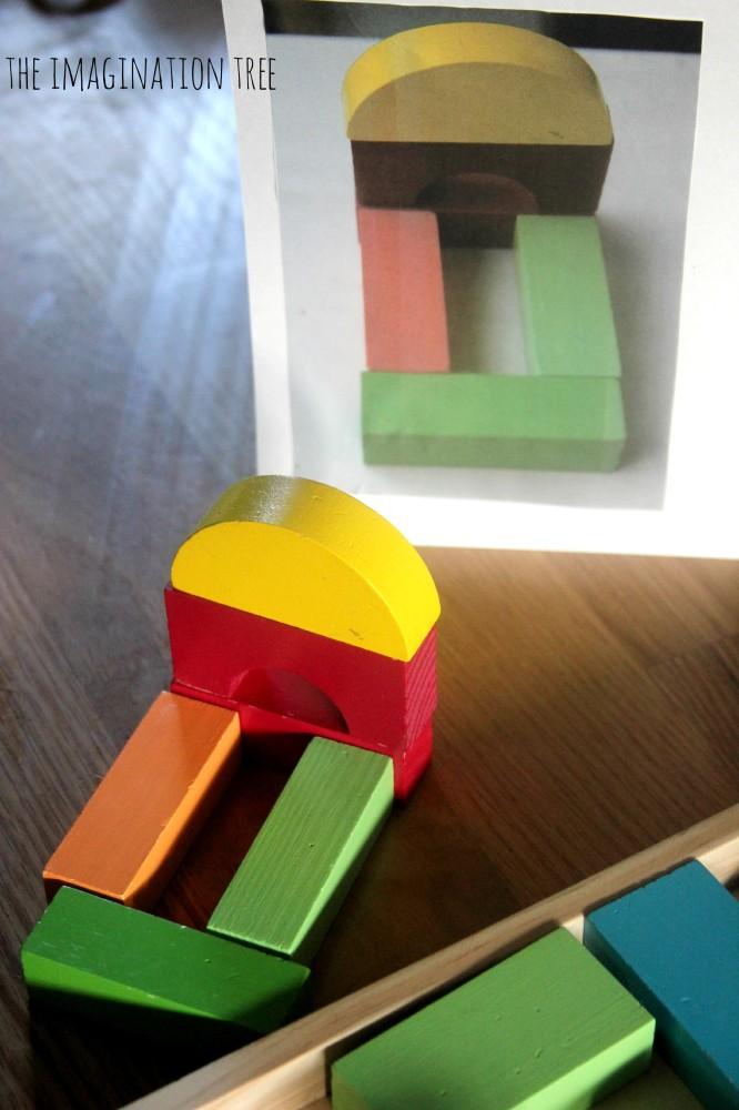 Shape matching activity with blocks