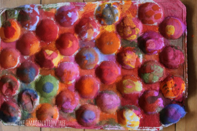 Beautiful watercolour painting  on a recycled fruit carton