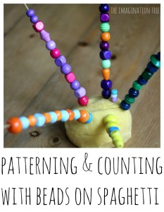 Counting and patterning with play dough, beads and spaghetti