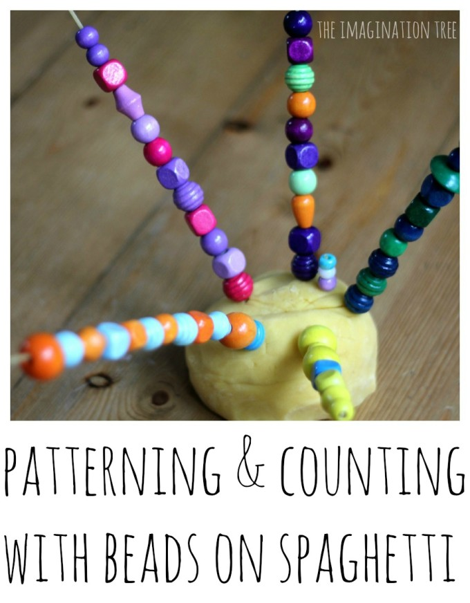 Counting and Patterning with Play Dough, Spaghetti and Beads