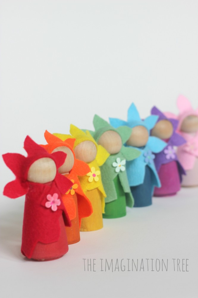 DIY flower fairy peg dolls