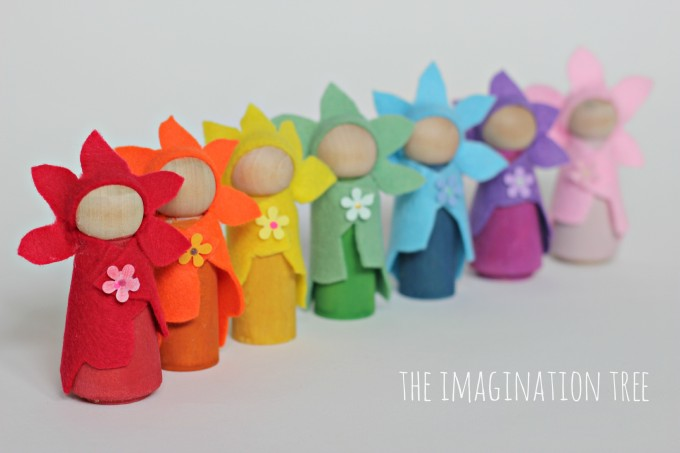 Felt flower fairies wooden dolls