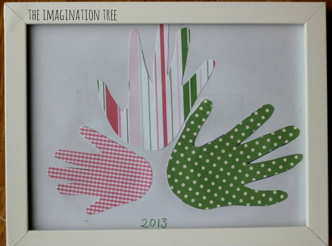 Framed handprint art for mother's and father's day