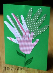 Handprint card craft for mother's and father's day