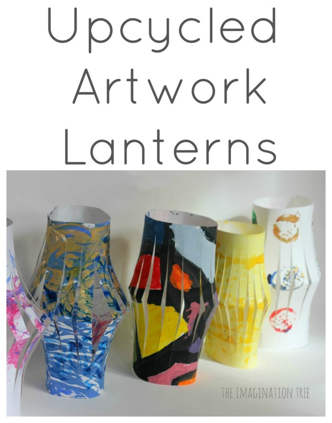 Lanterns from Upcycled Kids' Artwork