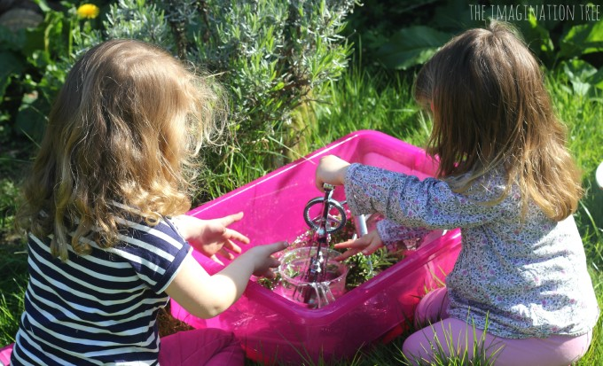 Sensory play with rosemary water