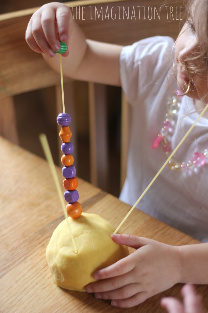 Threading with beads on spaghetti