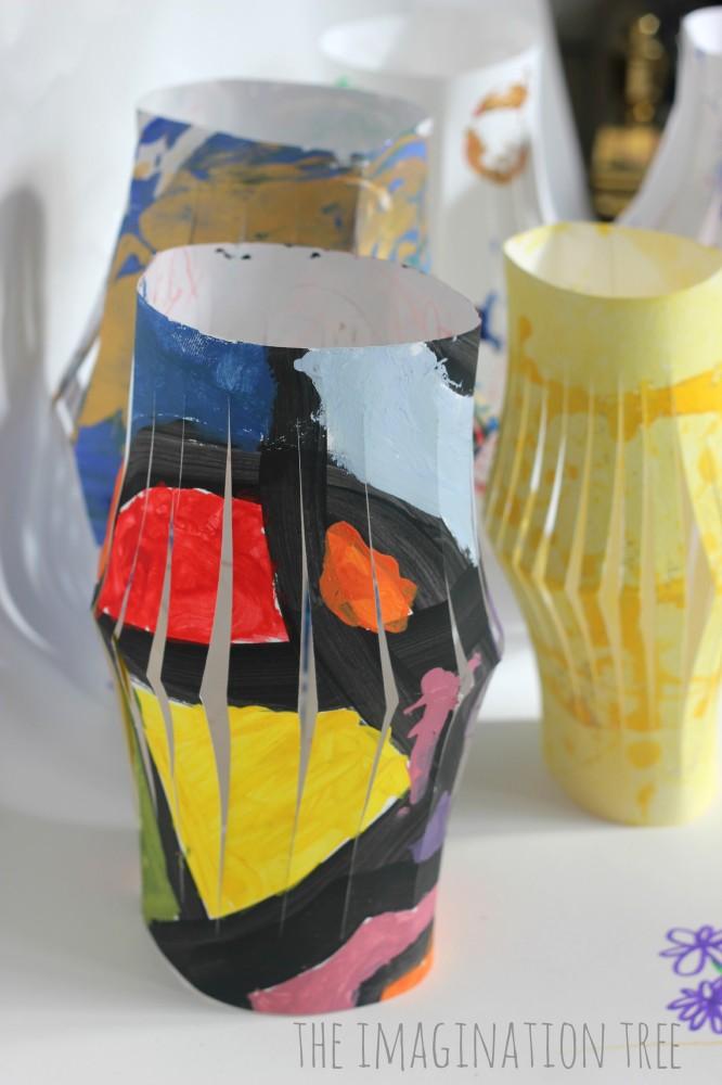 Upcycled kids art into lanterns