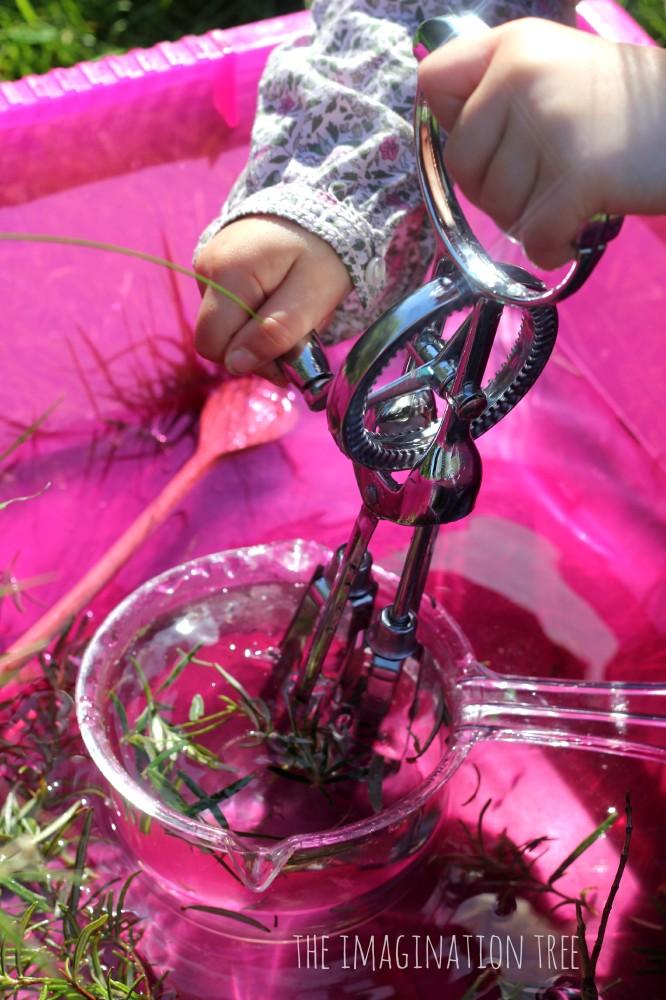 Whisking rosemary water
