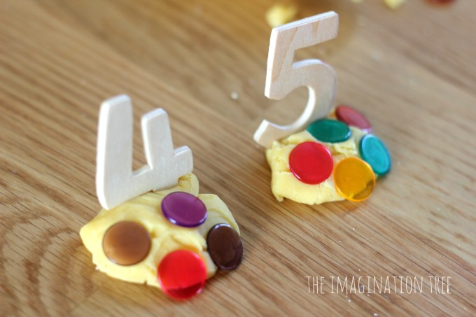 Addition game with play dough and counters