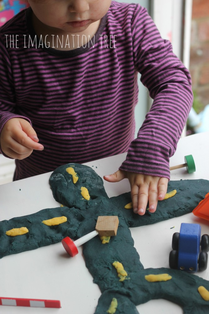 Making roads with play dough
