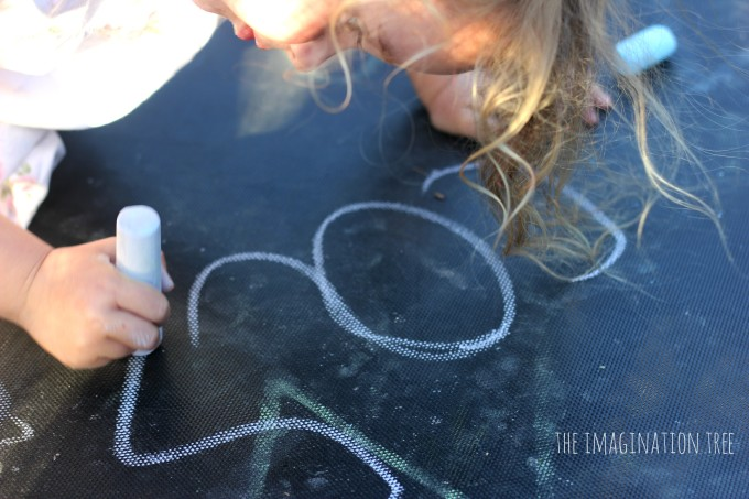 Name writing on the trampoline