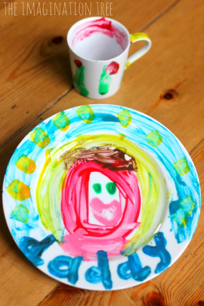 Painted plate and coffee cup craft for father's day