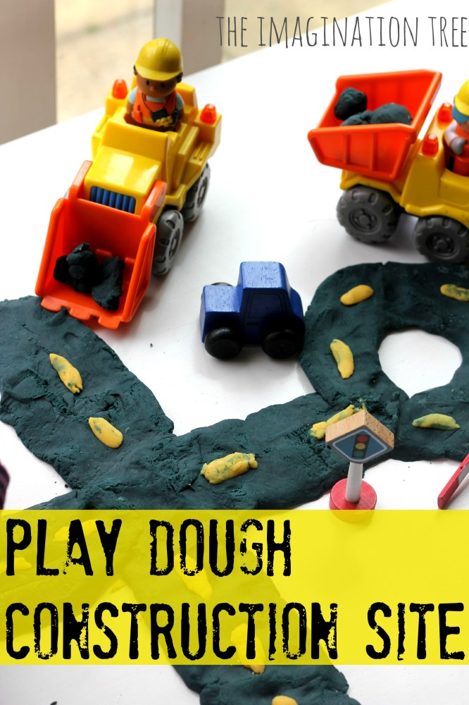 Play dough activity with diggers and dumper trucks