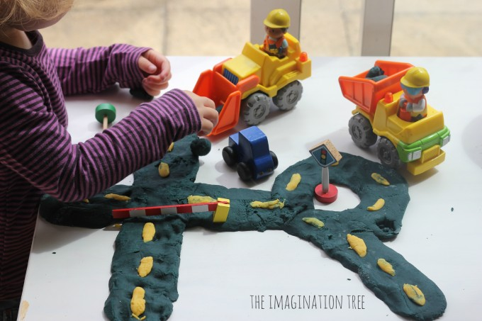 Roads and construction site in play dough