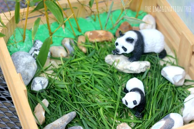 panda bear and bamboo small world set up