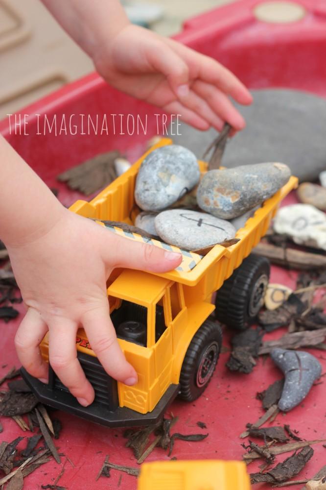 Alphabet rocks construction site