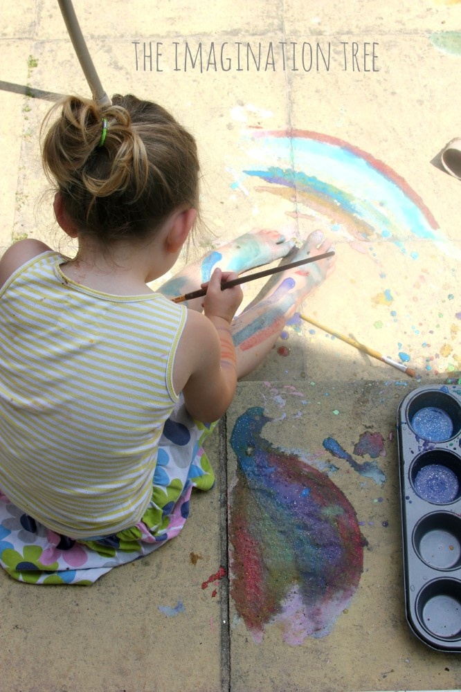 Bidy painting with DIY sidewalk paint