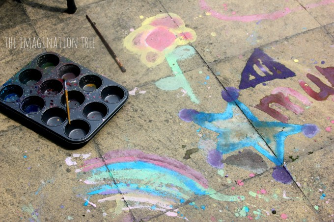 DIY glitter sidewalk paint recipe